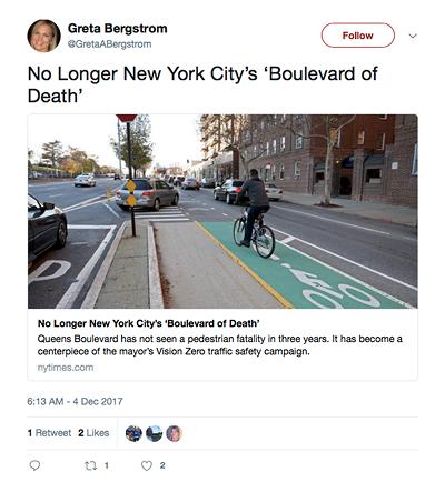 GretaABergstrom No Longer New York City's 'Boulevard of Death'